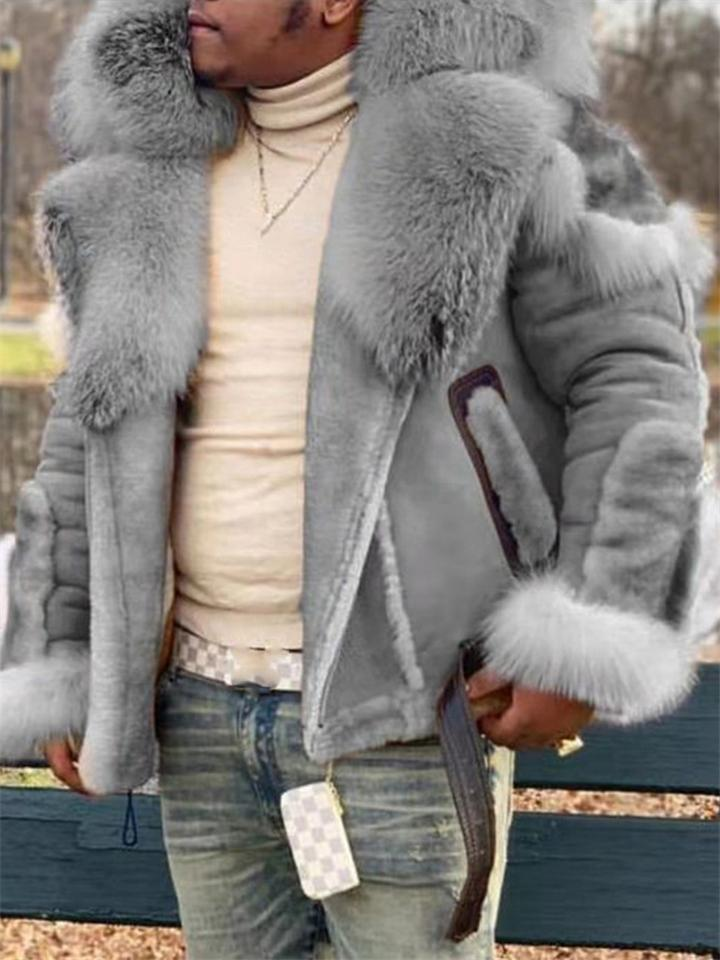 Mens Luxury Suede Leather Fur Coat