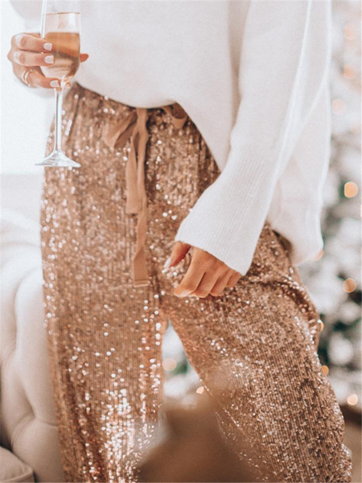 Fashion Sparkly Sequins Drawstring Casual Pants