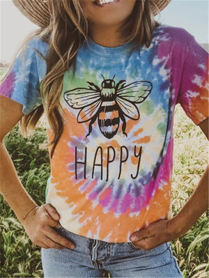 Bee Printed Tie-Dye Round Neck T-Shirts