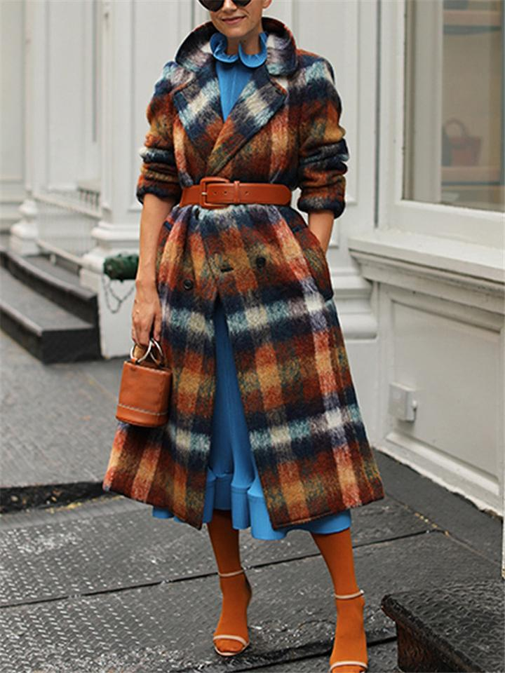 Women's Fashion Plaid Notched Double-Breasted Long Outerwear