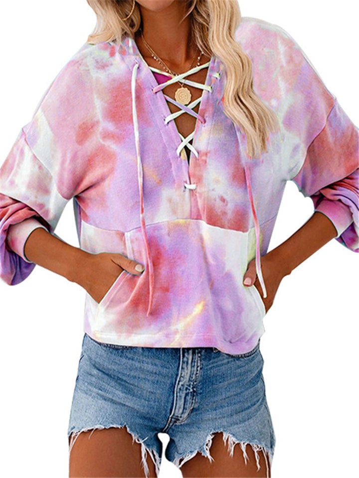 Stylish Long Sleeve Lace-up Neck Tie-dye Hoodie