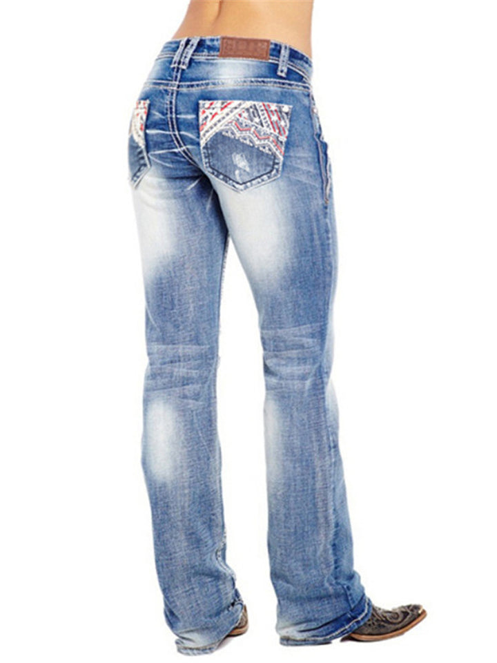 Stylish Embroidery Washed Effect Pocket Straight Leg Jeans