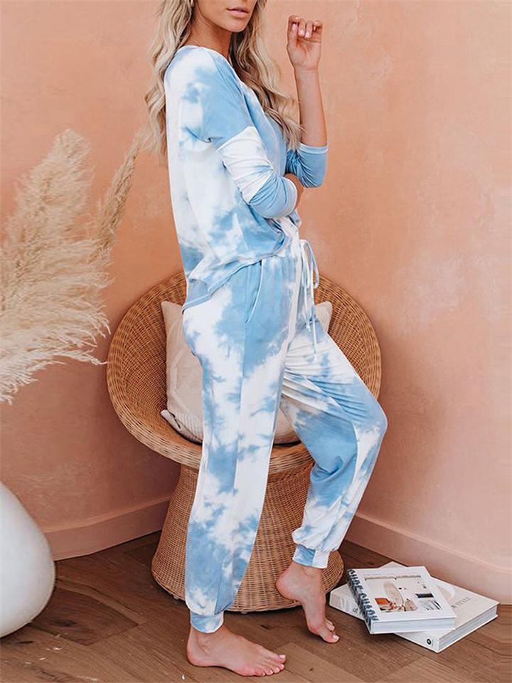 Casual Tie Dye Long Sleeve Pajama Sets Top + Pants