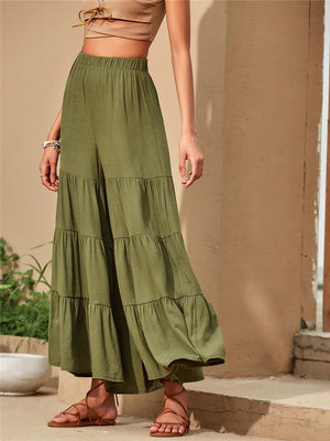 Holiday Style Loose Pleated Patchwork Pants