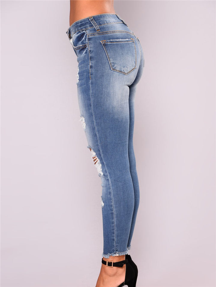 Tight Fit High-Stretchy Low-Rise Washed Effect Ripped Design Jeans