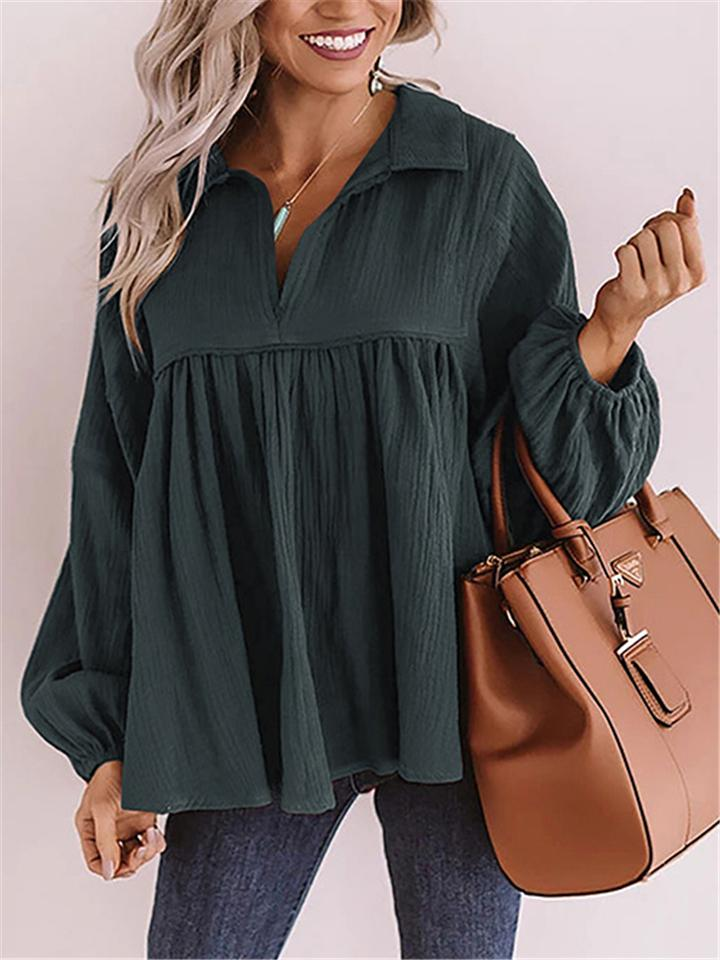 Women Fashion Relaxed Fit Puff Sleeve Shirt