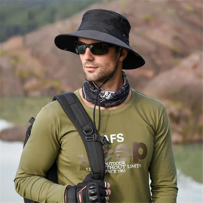 Men's Breathable Sun Protection Mesh Sunhat with Drawstring