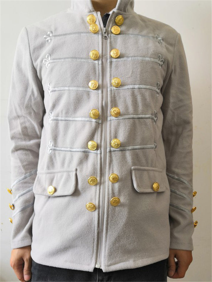 Relaxed Fit Button Closure Stand Collar Flap Pocket Long Sleeve Jacket