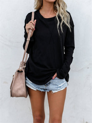 Casual Lightweight Solid Long Sleeve Cotton T-Shirt