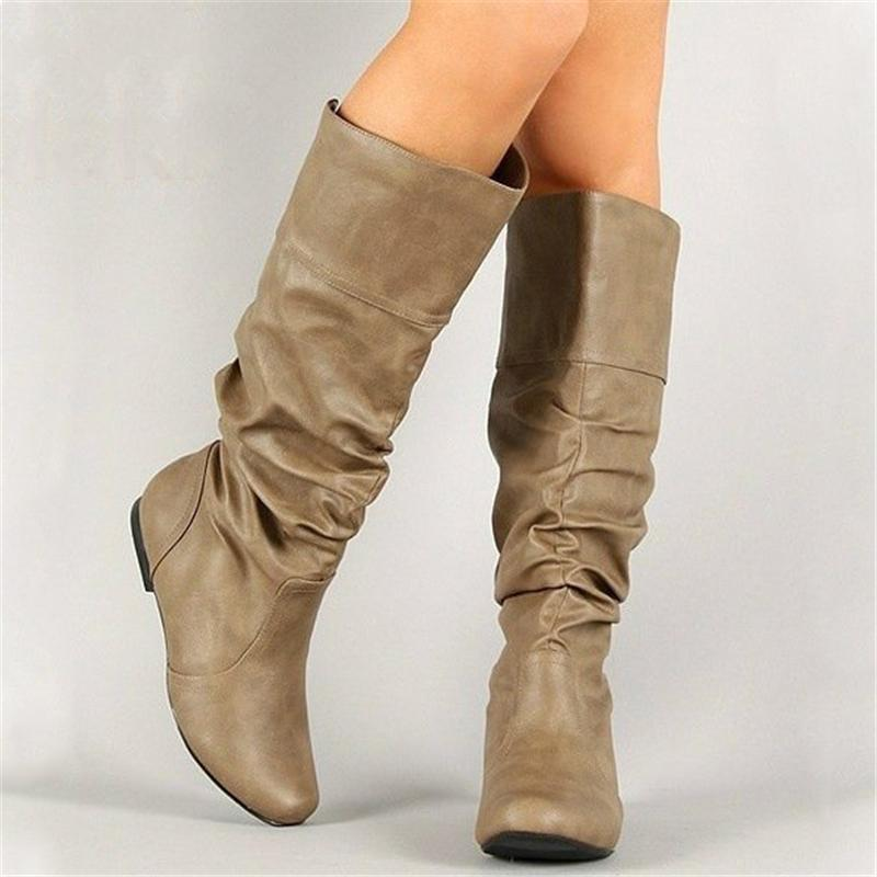 Fashion Slouch Leather Mid-Calf Flat Boots