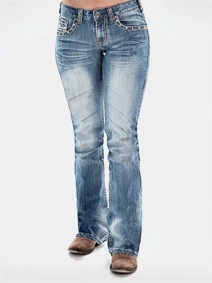 Casual Style Mid Rise Washed Effect Beaded Pocket Denim Pants