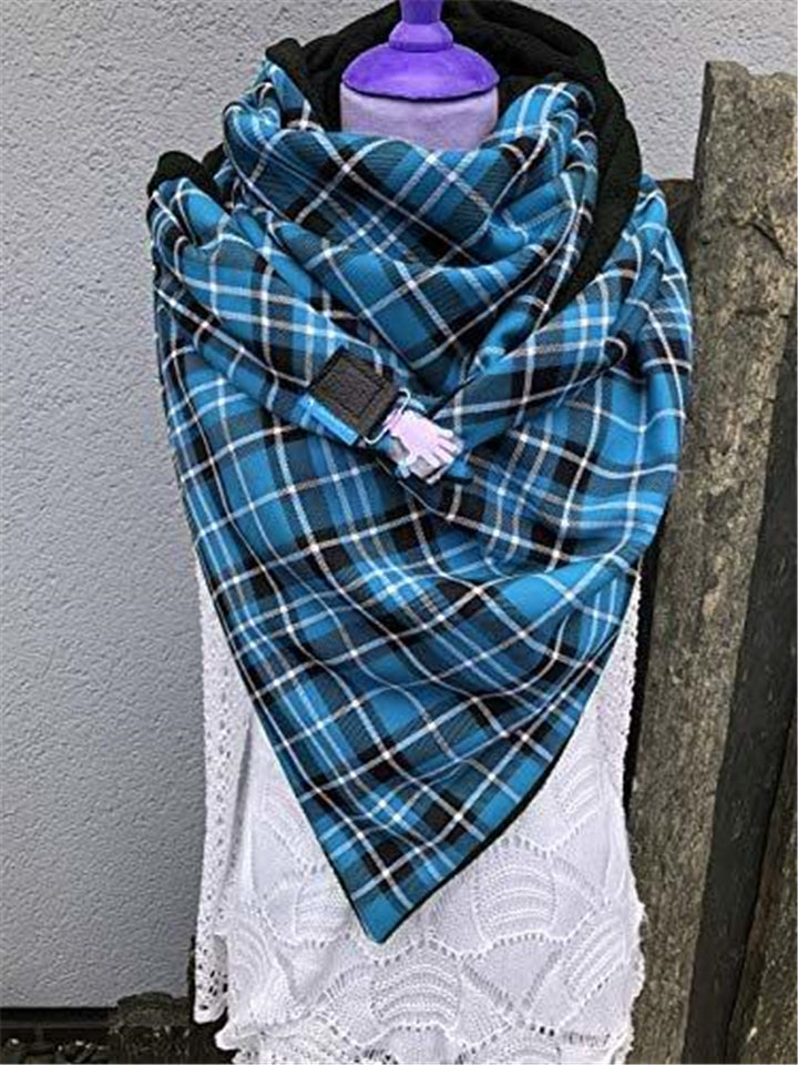 Extra Comfortable Plaid Neck Warmer Triangle Scarves & Shawls
