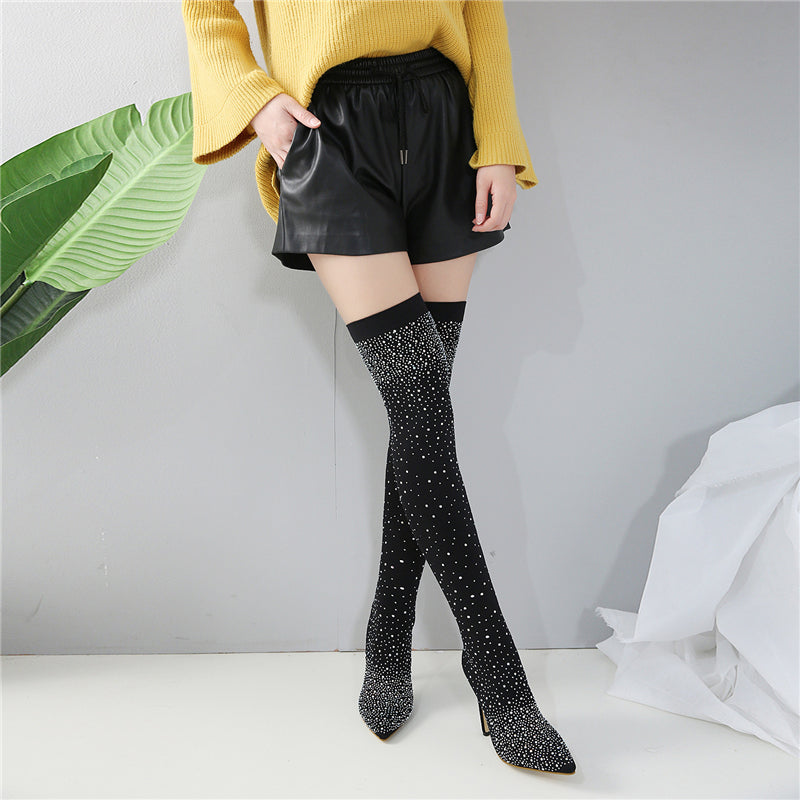 Women Sexy Rhinestone Studded Knee High Stiletto Pumps Boots