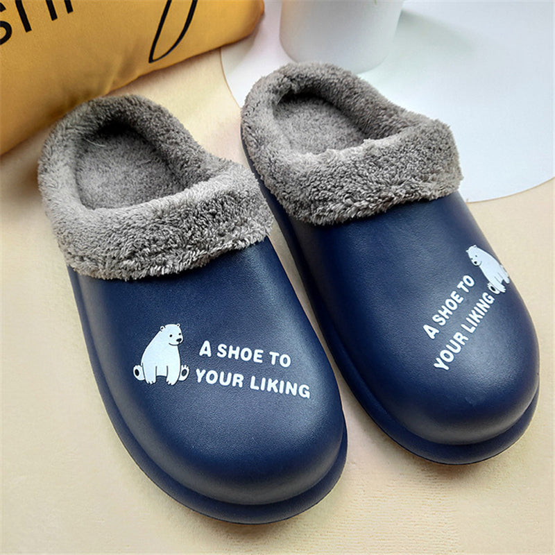 Winter Warm Fur Lined Waterproof Upper Closed Toe Slippers