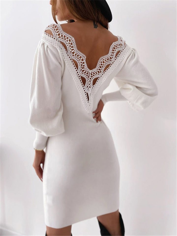 Stylish V Neck Lace Opening Back Balloon Sleeve Midi Dress