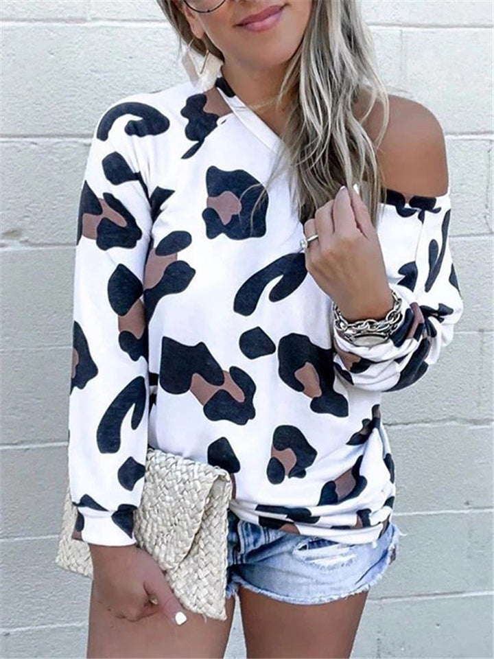 Casual Fit One Shoulder Leopard Pattern Long Sleeve Pullover Tops