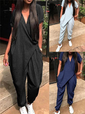 Women's Daily Loose V Neck Short Sleeve Jumpsuits