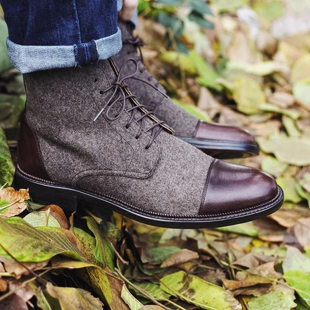 Men's Plus Size Handmade Suede Ankle Boots