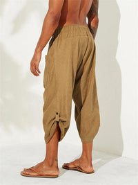 Men's Casual Ethnic Style Calf-Length Corduroy Drawstring Loose Harem Pants