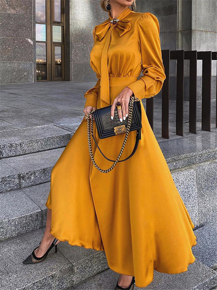 Stylish Front Bowknot Fitted Waist Long Sleeve Maxi Flare Dress
