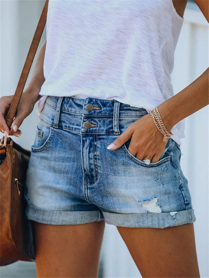 Relaxed Fit High-Rise Rolled Hem Ripped Design Denim Hot Shorts