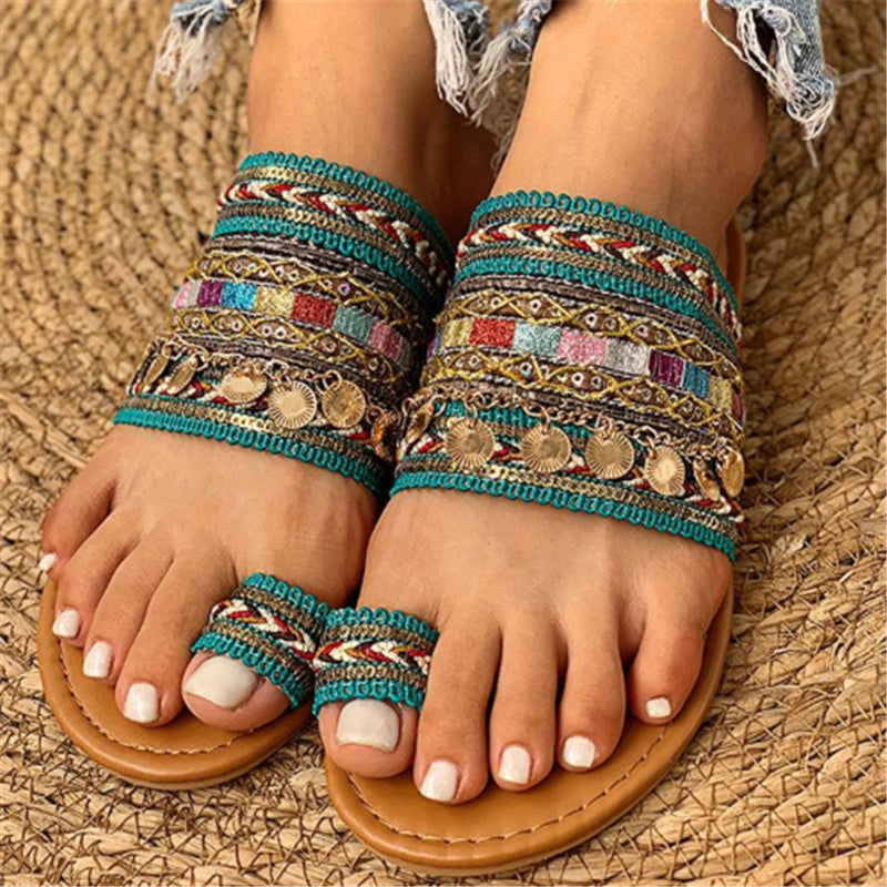 Boho Toe Ring Flat Beach Slippers