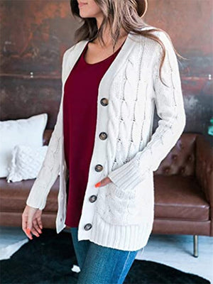 Women's Button Down Long Sleeve Soft Cardigan Sweater with Pockets