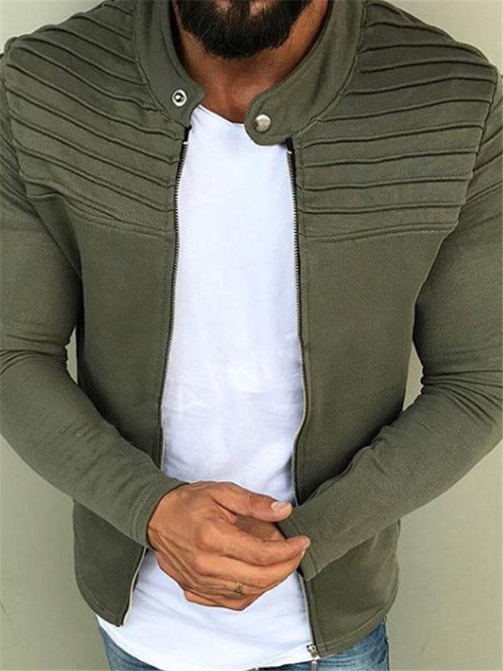 Casual Fit Zipper Closure Solid Color Long Sleeve Jacket