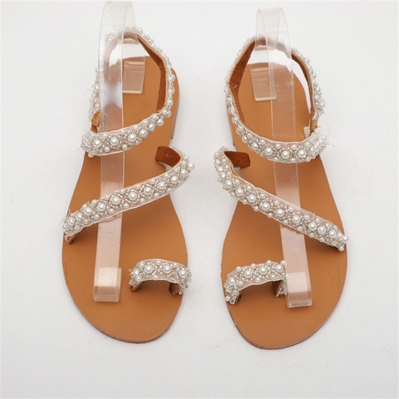 Women Handmade Pearl Beach Sandals
