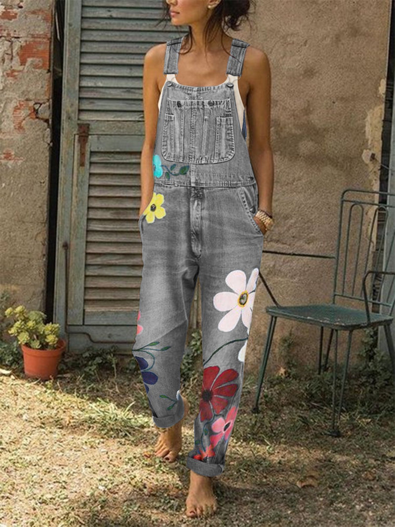 Denim Bibs Women's Pretty Sleeveless Floral Denim Jumpsuits