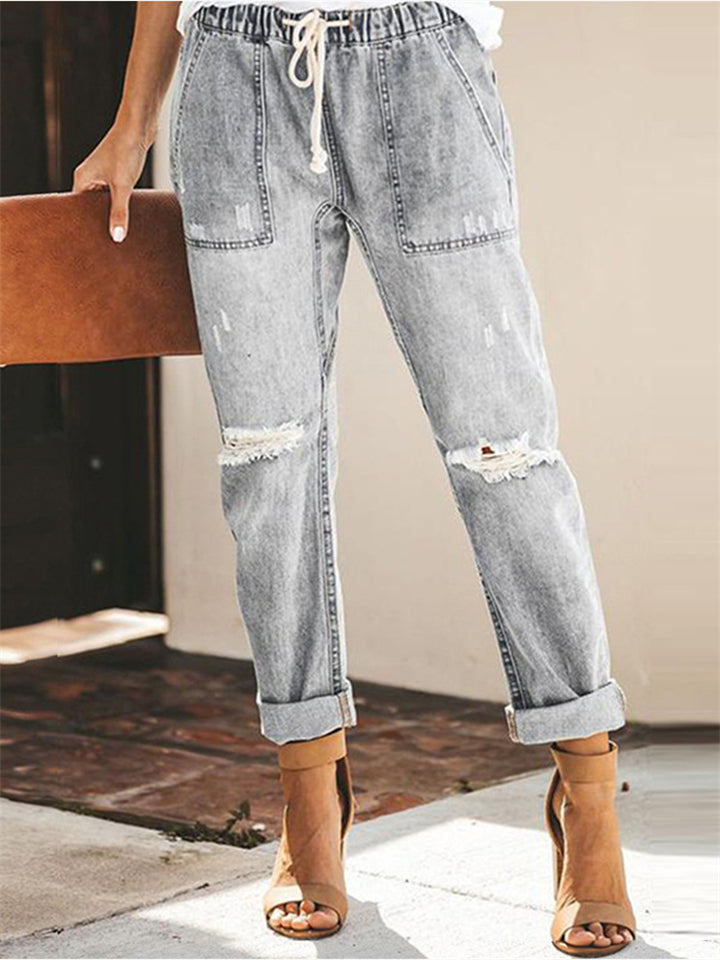 Women's Elastic Waistband Lace Up Ripped Jeans