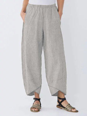 Women's Linen Striped Casual Capri Pants