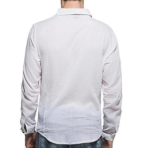 Linen Soft Comfy Plain Pure Color Lapel Long Sleeve Shirts for Men