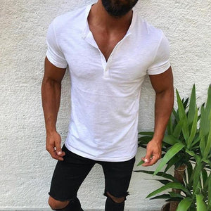 Men Loose Stand Collar Bamboo Cotton T-Shirt