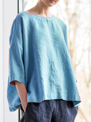 Solid Round Neck Casual Blouse T-Shirts