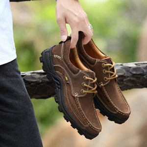 Men Casual Genuine Leather Lace-up Outdoor Oxfords