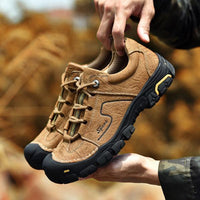 Men Casual Genuine Leather Outdoor Waterproof Hiking Shoes