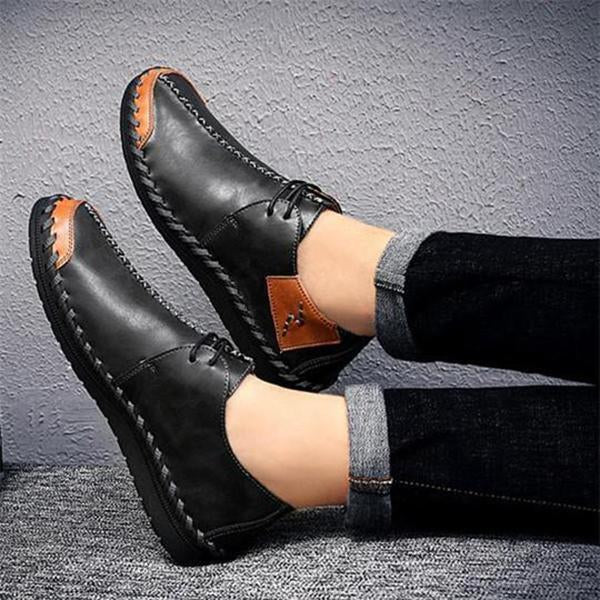 Men Casual Handmade Stitching Soft Soles Lace Up Oxfords