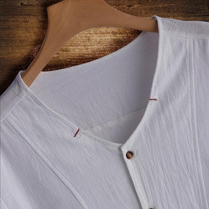 Men Plus Size Casual Linen Button Short Sleeve Shirts