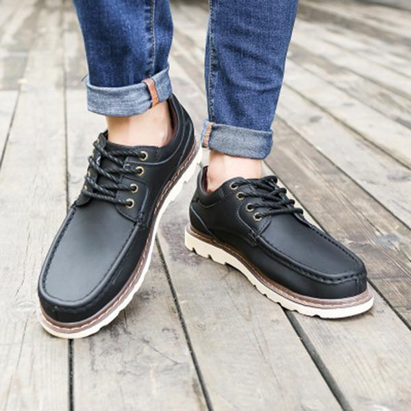 Men Casual Scrub Cowhide Flat Shoes
