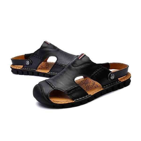Men Casual Soft Genuine Leather Anti Collision Toe Sandals