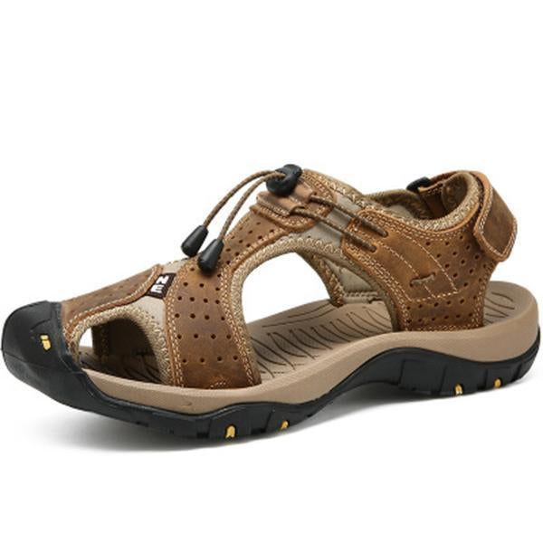 Men Comfortable Outdoor Genuine Leather Beach Sandals