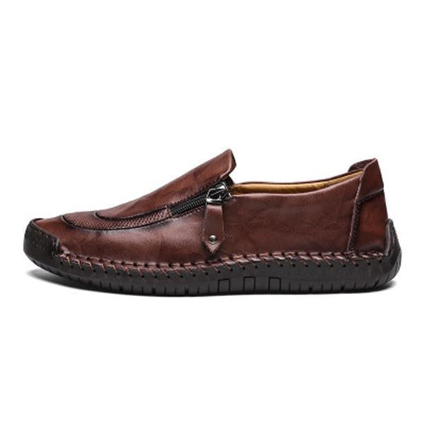 Men Comfy Hand Stitching Side Zipper Slip On Oxfords