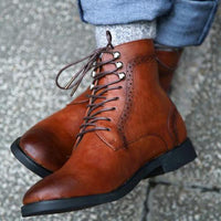 Men Fashion Lace Up Artificial Leather Martin Boot