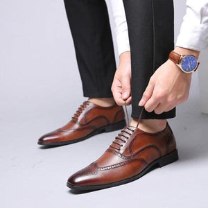 Men Fashion Lace-up Pointed Toe Shoes