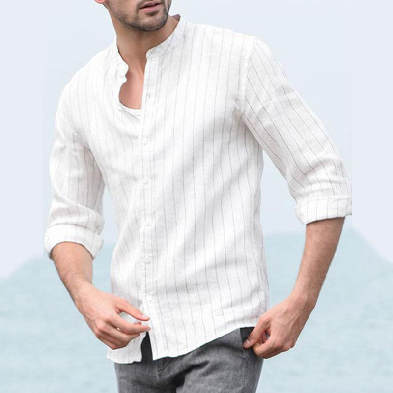 Men Loose Linen Chic Lapel Collar Stripe Business Shirt