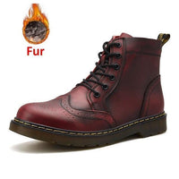 Men Warm Plus Velvet Genuine Leather Martin Boots