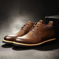 Mens Casual Genuine Leather Waterproof Fall Ankle Boots