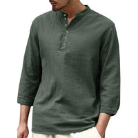 Mens Casual Linen Cotton V Neck T-Shirt