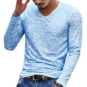Men's Casual Solid Color Slim Fit Long-Sleeved V-Neck T-shirts